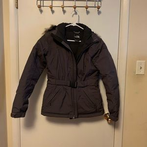 North Face Parka with fur trim and belt